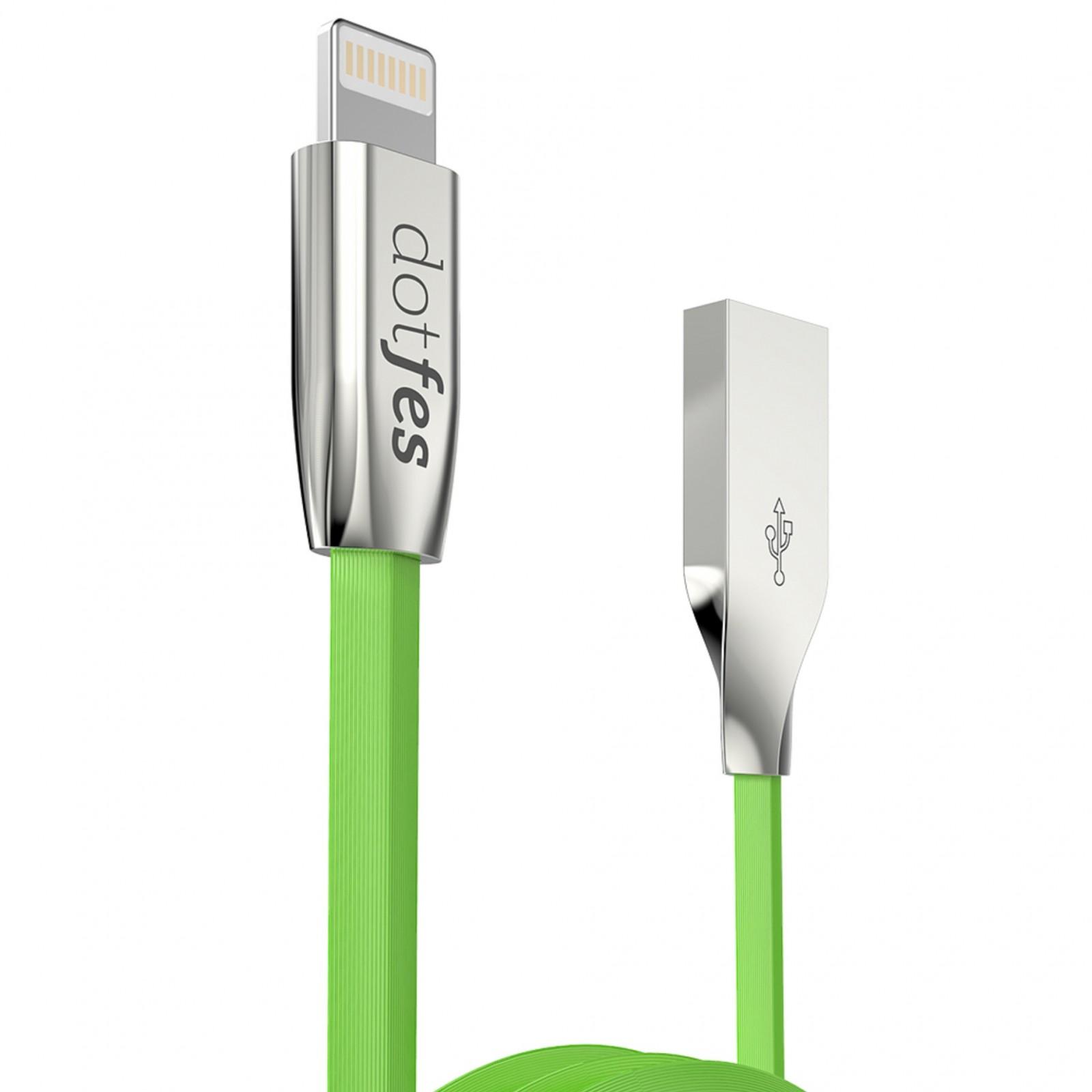 USB кабель Dotfes A04 Lightning (1m), green аксессуар dotfes usb lightning mfi a01f 2 5a 1m grey 14601
