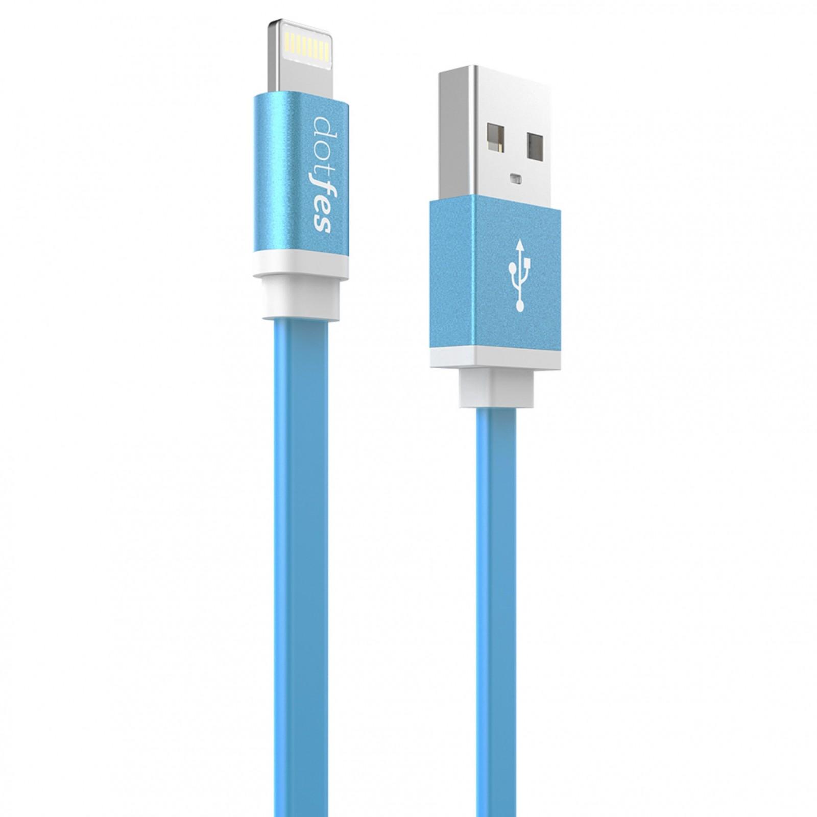 USB кабель Dotfes A05 Lightning (1m), blue аксессуар dotfes usb lightning mfi a01f 2 5a 1m grey 14601