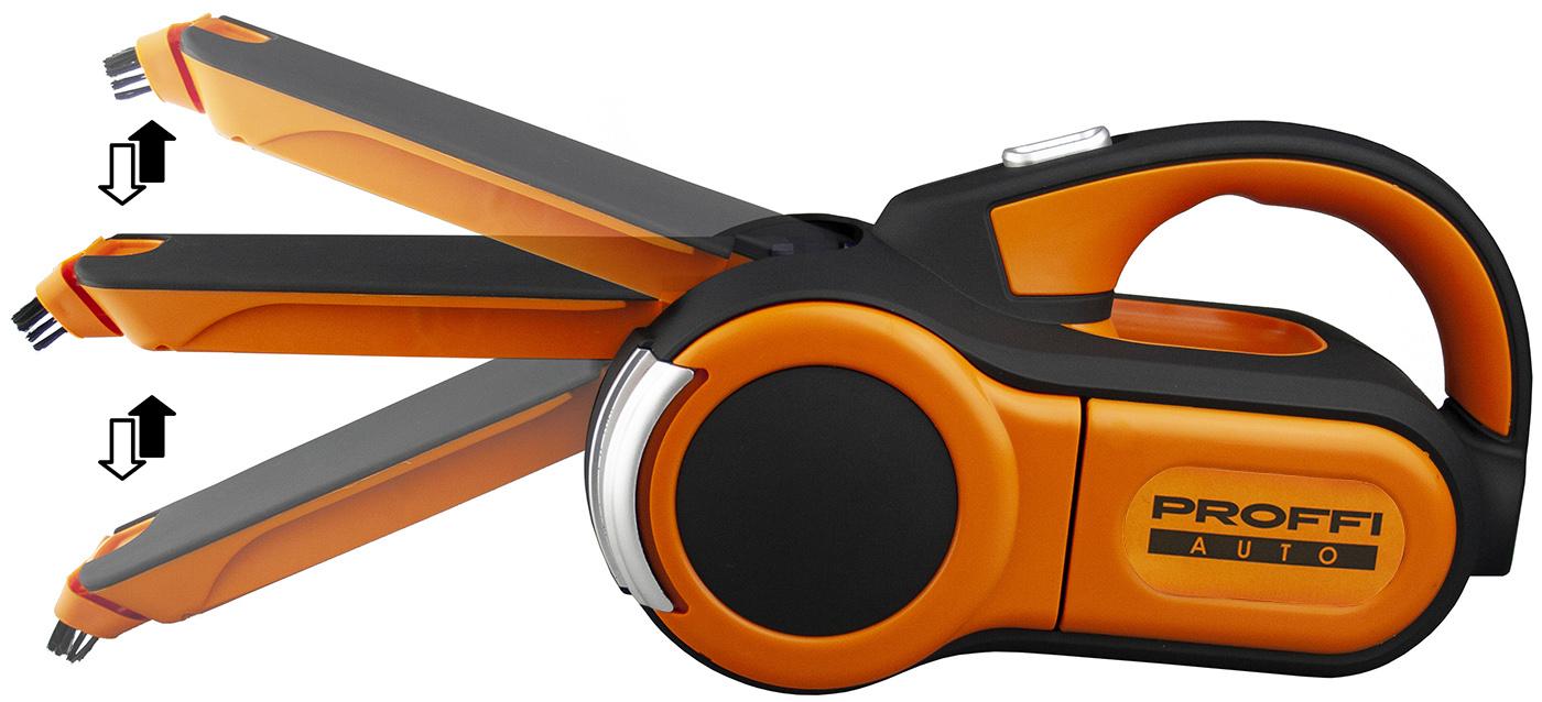 Пылесос автомобильный PROFFI PA0327, оранжевый автомобильный пылесос proffi c 3 мя насадкам удлинителем шланга флаг страны россия 70х105 см оранжевый