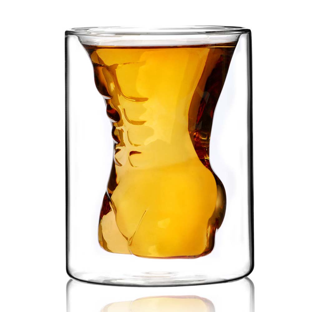Стакан CnGlass Стакан с двойными стенками Мужчина, 190 мл, JB07002-5, Стекло стакан дятьковский хрусталь пилястра с кольцом 190 мл