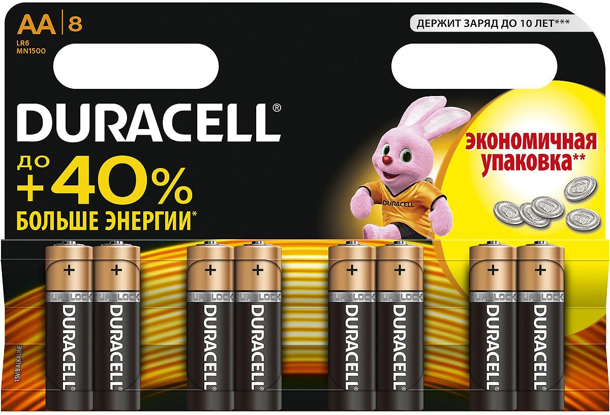 Набор батареек Duracell, тип AA, 8 шт батарейки duracell аа lr6 2bl basic cn 2 шт