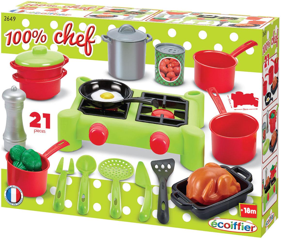 Сюжетно-ролевые игрушки Ecoiffier Chef. Набор плита с продуктами игра ecoiffier chef набор посуды с сушилкой 2619