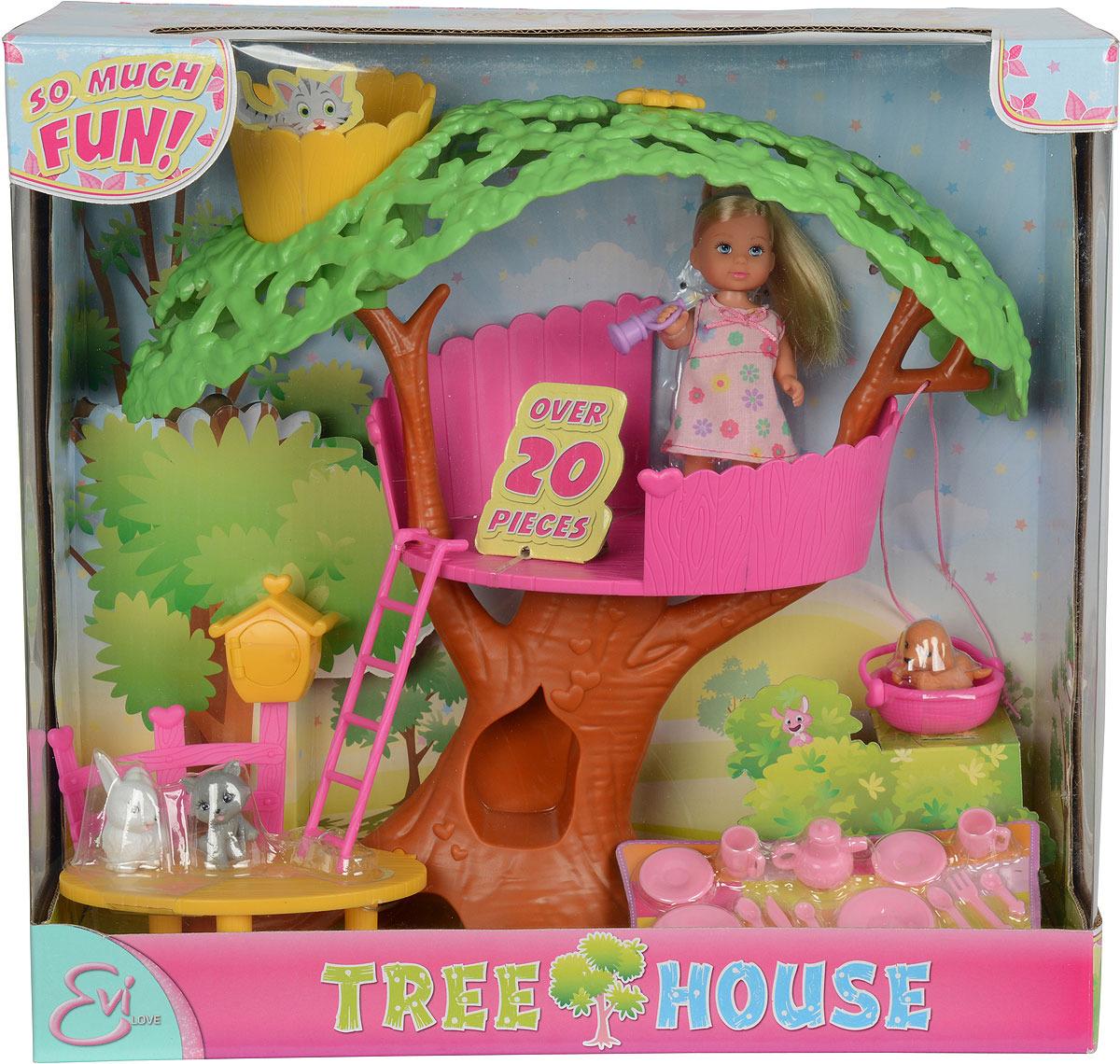 Мини-кукла Simba Домик Еви на дереве кукла еви со стильной собачкой
