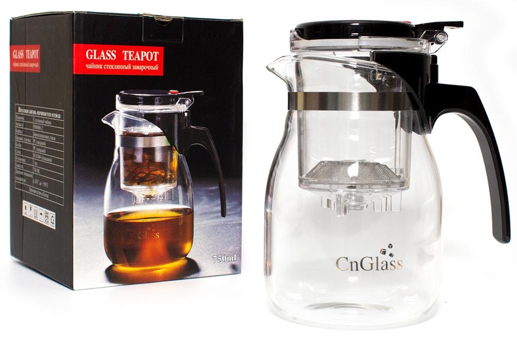 Чайник заварочный CnGlass Гунфу 750 мл, Стекло ручной работы с деревом керамические портативный китай gongfu чай кубок чайник путешествия set