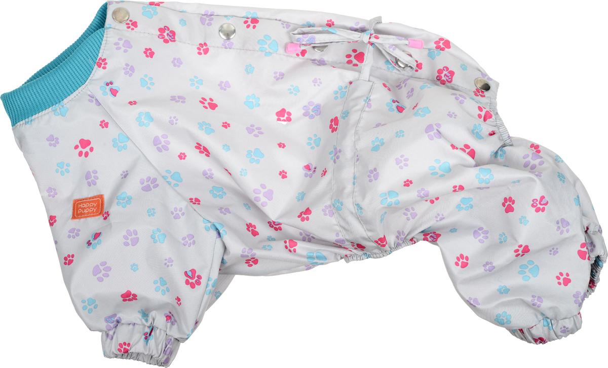 Комбинезон для собак Happy Puppy Лапка, для девочки, цвет: серый. Размер 4 (XL) джемпер для девочки acoola mimosa цвет лавандовый 20210310081 2802 размер 158