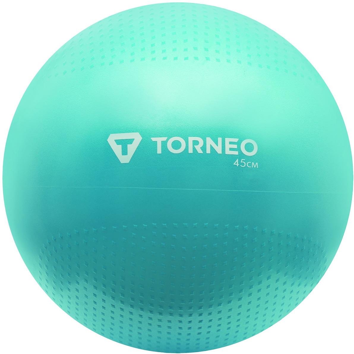 Мяч гимнастический Torneo, с насосом, цвет: голубой, 45 см мяч гимнастический indigo in001 цвет голубой диаметр 75 см