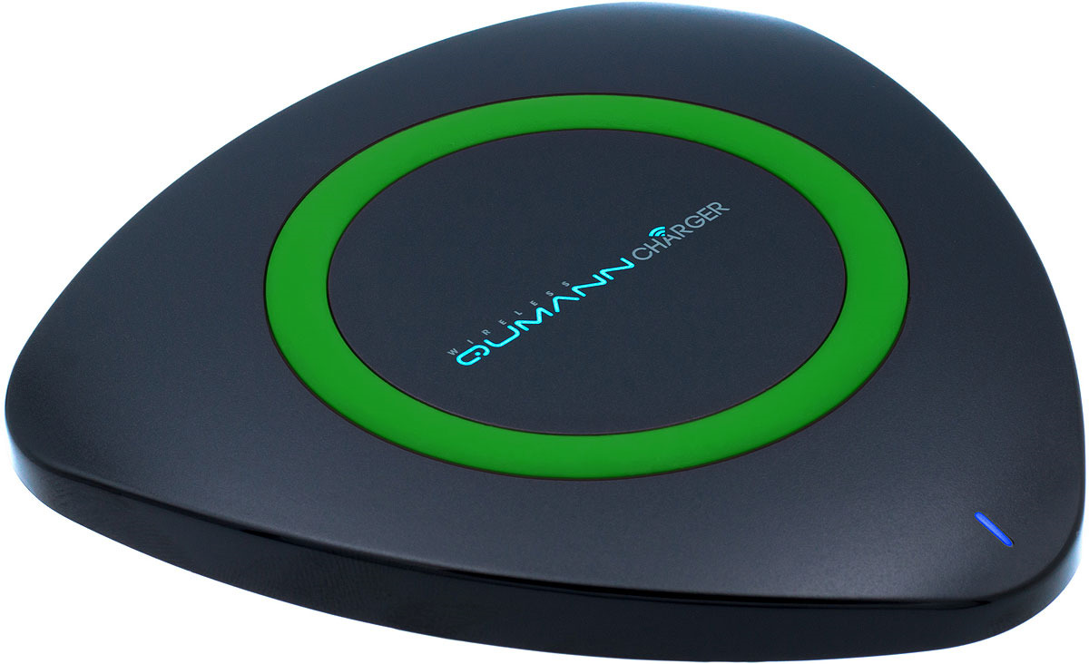 Беспроводное зарядное устройство Qumann QWC-01 Wireless Delta Qi Charger, Black Green red line qi 01 1a black беспроводное зарядное устройство