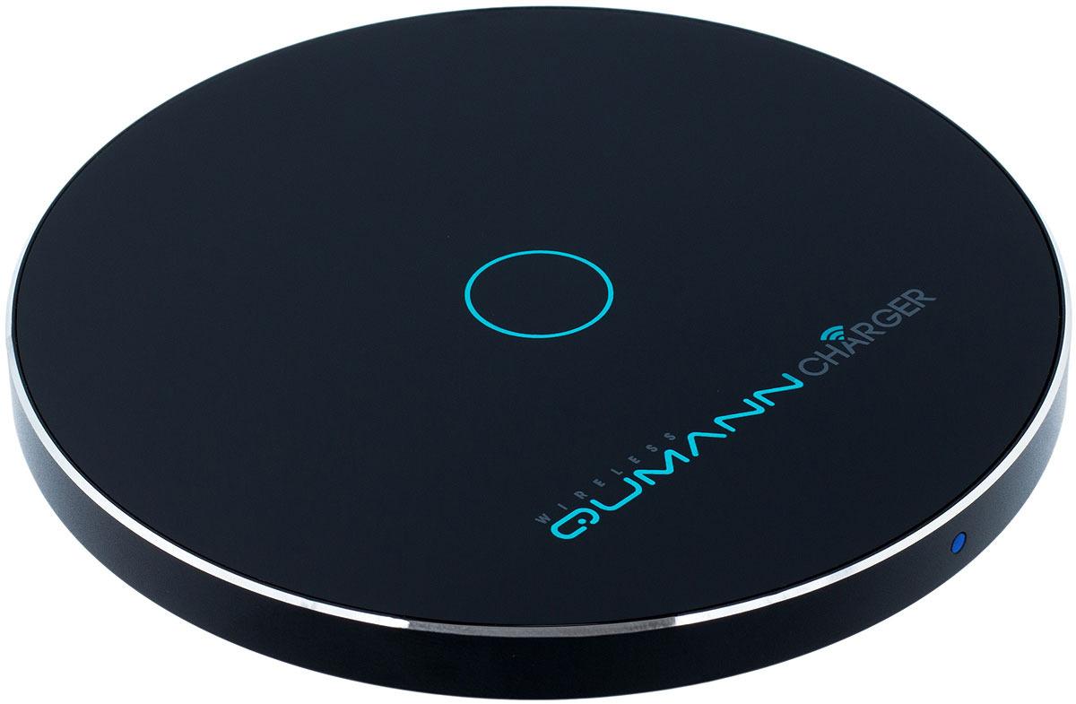 Беспроводное зарядное устройство Qumann QWC-02 Wireless Disc Qi Fast Charger, Black red line qi 01 1a black беспроводное зарядное устройство