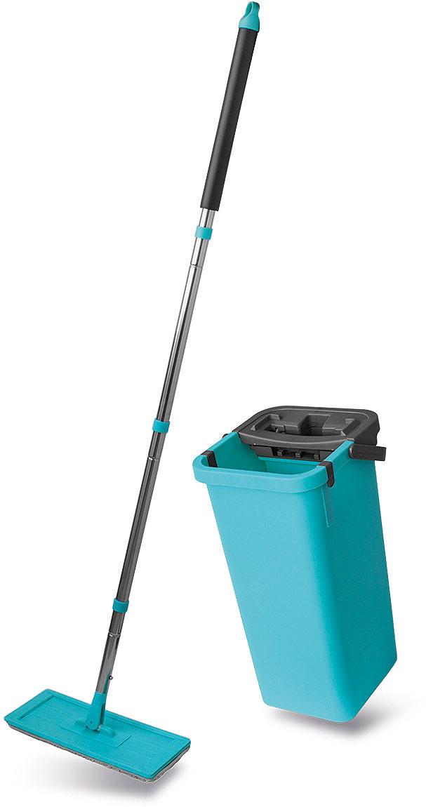 Комплект для уборки Miley Magic Flat Mop: швабра, ведро с отжимом, цвет: бирюзовый стоимость