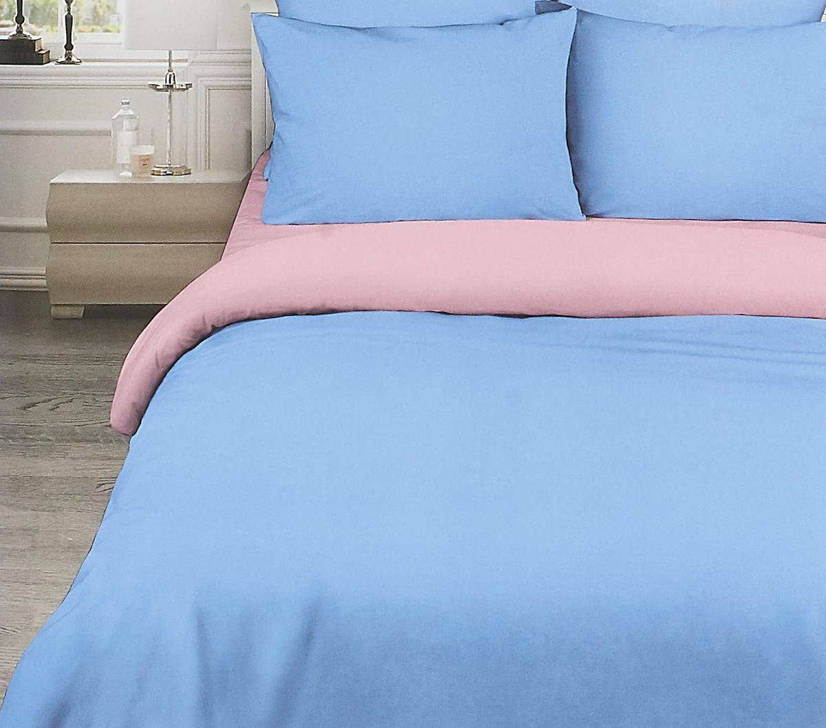 Комплект белья Василиса Розовый рассвет, 1,5-спальный, наволочки 70x70, цвет: синий. 377/2 комплект белья василиса тауэрский мост 2 спальный наволочки 70х70