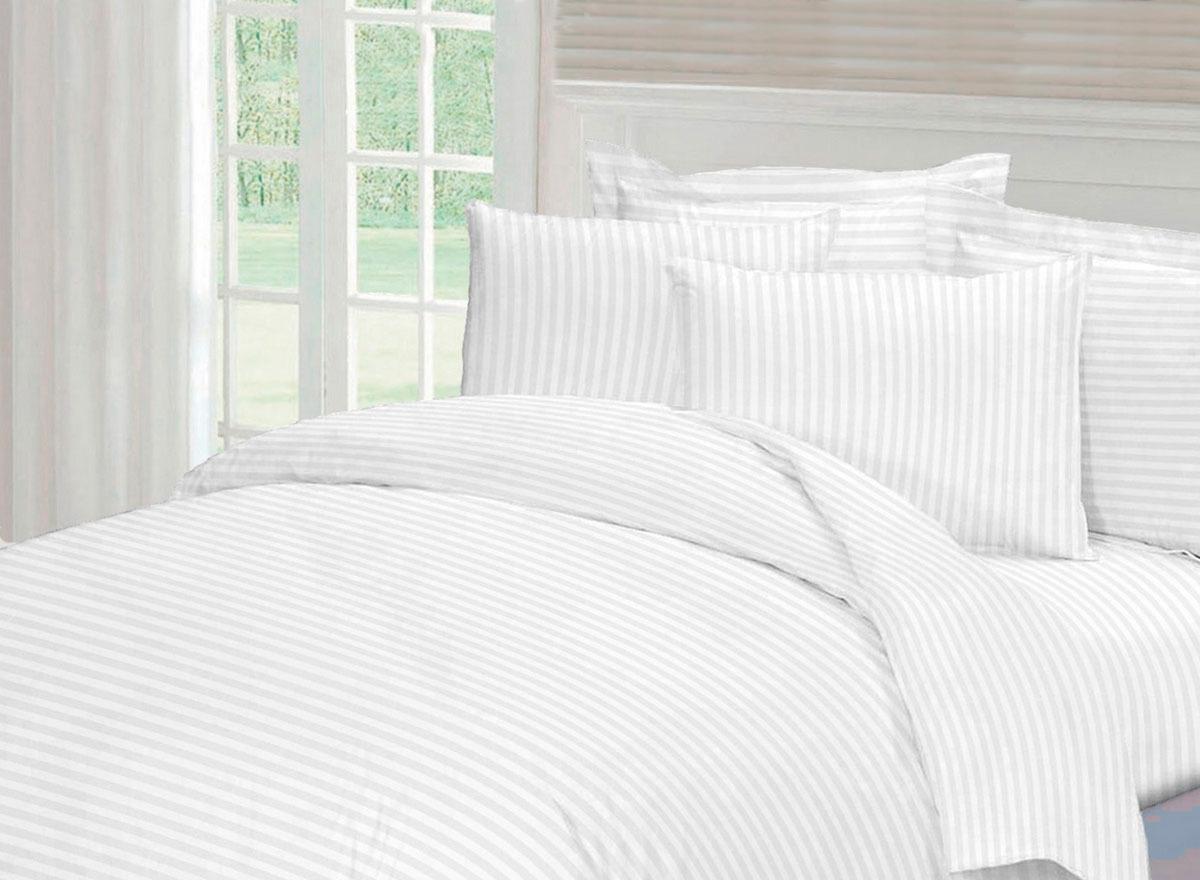 Комплект белья Tete-a-Tete Страйп, 1,5-спальный, наволочки 50x70, цвет: белый комплект белья tete a tete персия семейный наволочки 50x70