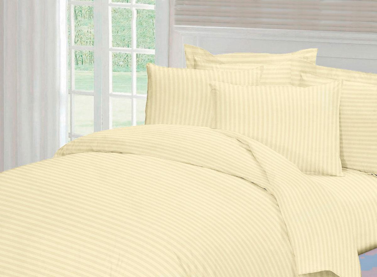Комплект белья Tete-a-Tete Страйп, 1,5-спальный, наволочки 50x70, цвет: шампань комплект белья tete a tete персия семейный наволочки 50x70