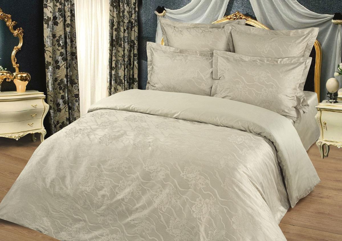 Комплект белья Tete-a-Tete Жаккард, 1,5-спальный, наволочки 50x70, цвет: бежевый комплект белья tete a tete персия семейный наволочки 50x70