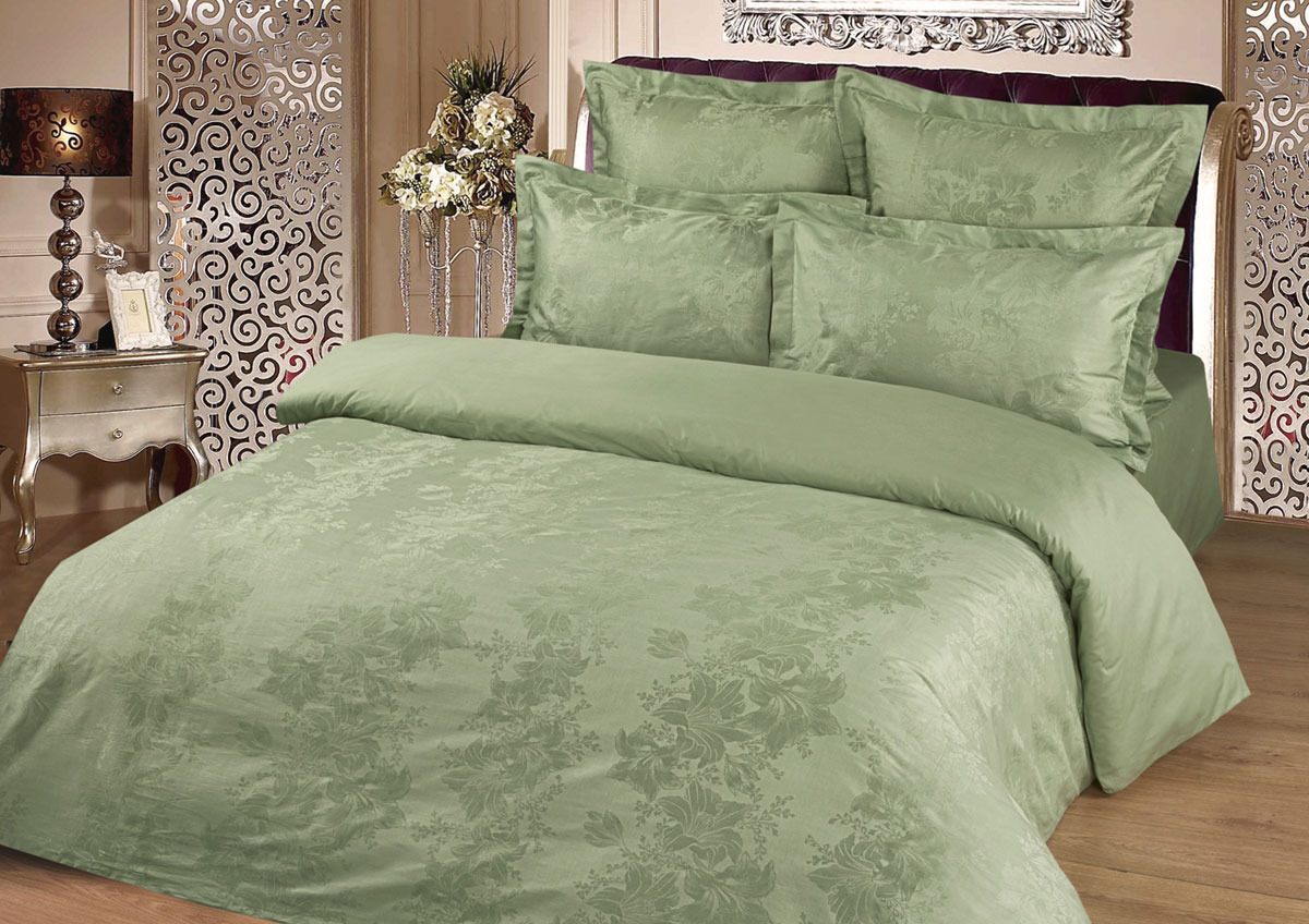 Комплект белья Tete-a-Tete Жаккард, 1,5-спальный, наволочки 50x70, цвет: фисташка комплект белья tete a tete персия семейный наволочки 50x70