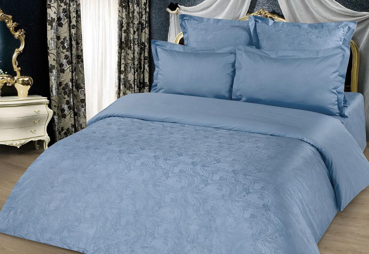 Комплект белья Tete-a-Tete Жаккард, 1,5-спальный, наволочки 50x70, цвет: голубой комплект белья tete a tete персия семейный наволочки 50x70