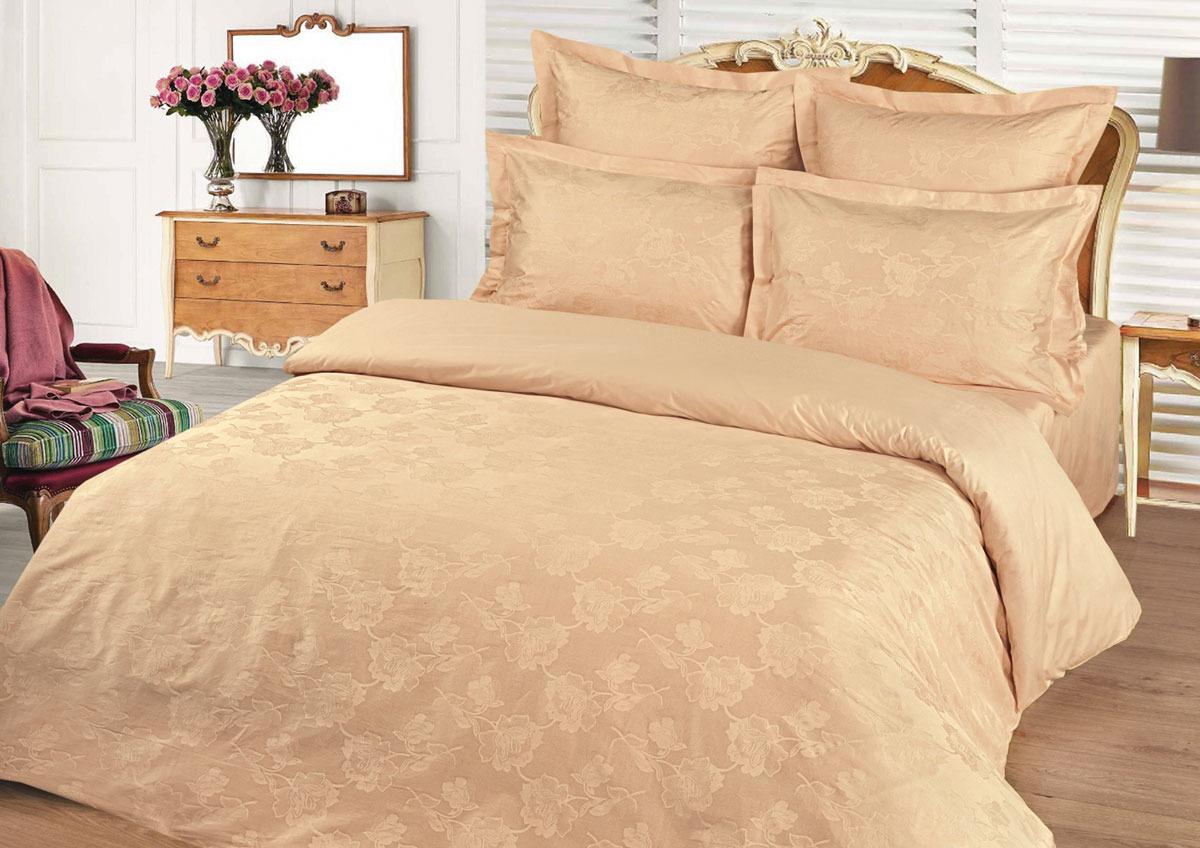 Комплект белья Tete-a-Tete Жаккард, 1,5-спальный, наволочки 50x70, цвет: персик комплект белья tete a tete персия семейный наволочки 50x70