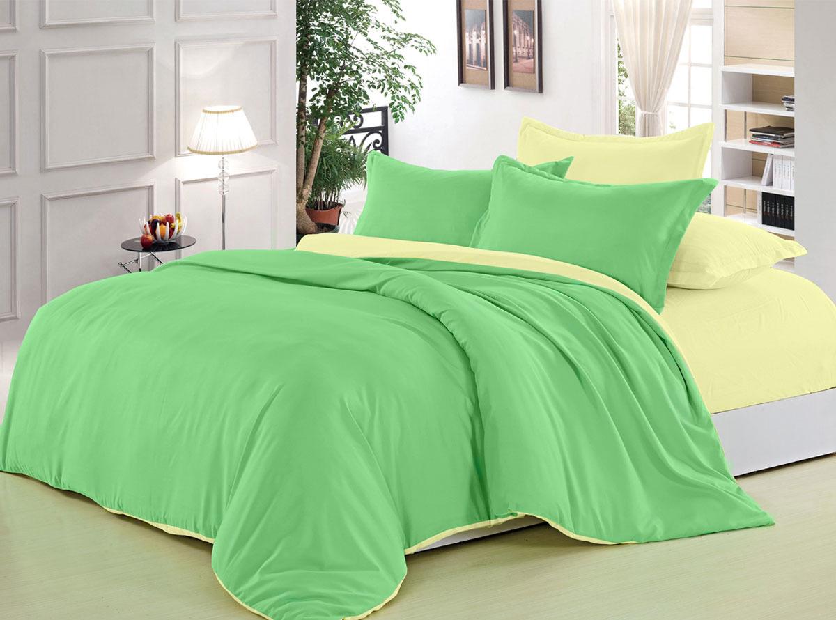 Комплект белья ЭГО Мелани, 2-спальный, наволочки 70x70, цвет: светло-зеленый растение фикус эластика мелани д 12