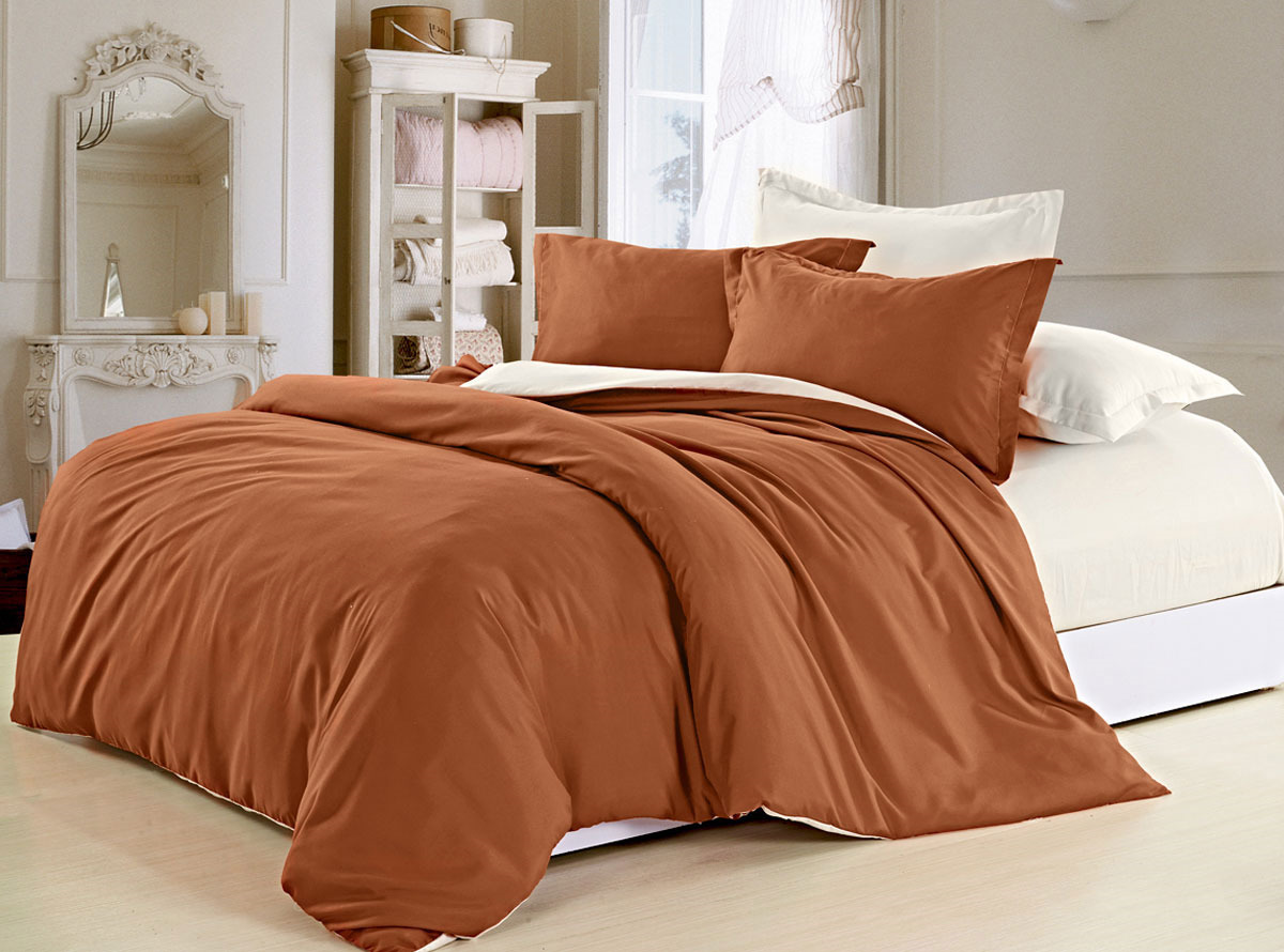 Комплект белья ЭГО Лиана, евро, наволочки 70x70, 50х70, цвет: коричневый цена