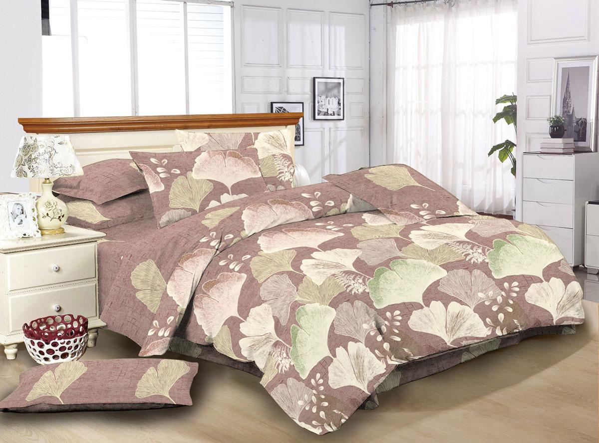 """Комплект белья ЭГО """"Асти"""", 1,5-спальный, наволочки 70x70, цвет: коричневый"""
