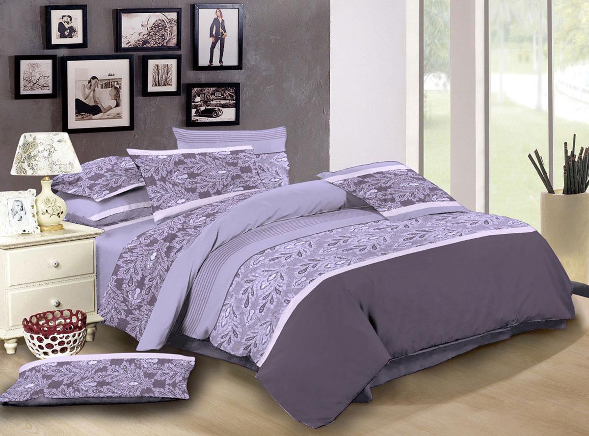 Комплект белья ЭГО Парма, 1,5-спальный, наволочки 70x70, цвет: сиреневый бетономешалка парма б 220 э