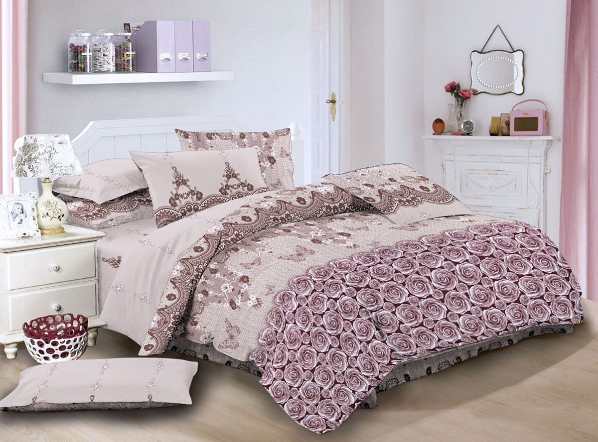 """Комплект белья ЭГО """"Гаэта"""", 1,5-спальный, наволочки 70x70, цвет: бежевый"""