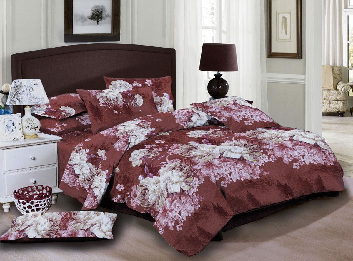 """Комплект белья ЭГО """"Арона"""", 1,5-спальный, наволочки 70x70, цвет: коричневый"""