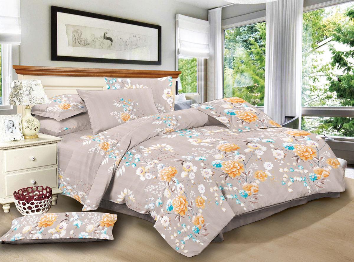 """Комплект белья ЭГО """"Биелла"""", 1,5-спальный, наволочки 70x70, цвет: бежевый"""