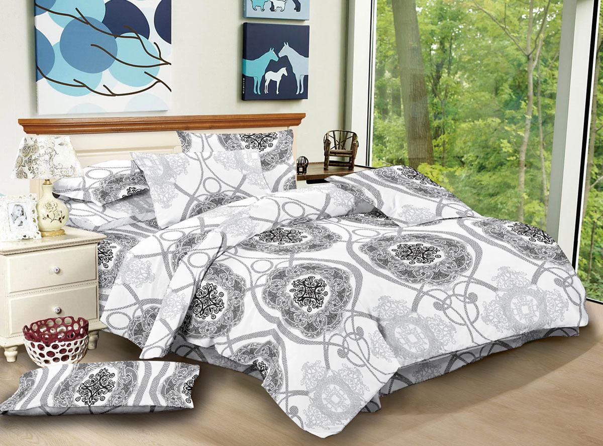Комплект белья ЭГО Верона, 1,5-спальный, наволочки 70x70, цвет: белый скатерть quelle эго 1024295 120х150