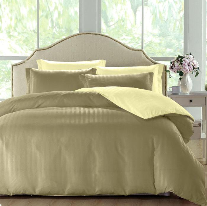 Комплект белья ЭГО Сафина, 1,5-спальный, наволочки 70x70, цвет: оливковый скатерть quelle эго 1024295 120х150