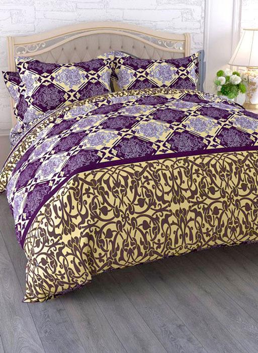 """Комплект белья ЭГО """"Соната"""", 1,5-спальный, наволочки 70x70, цвет: фиолетовый"""