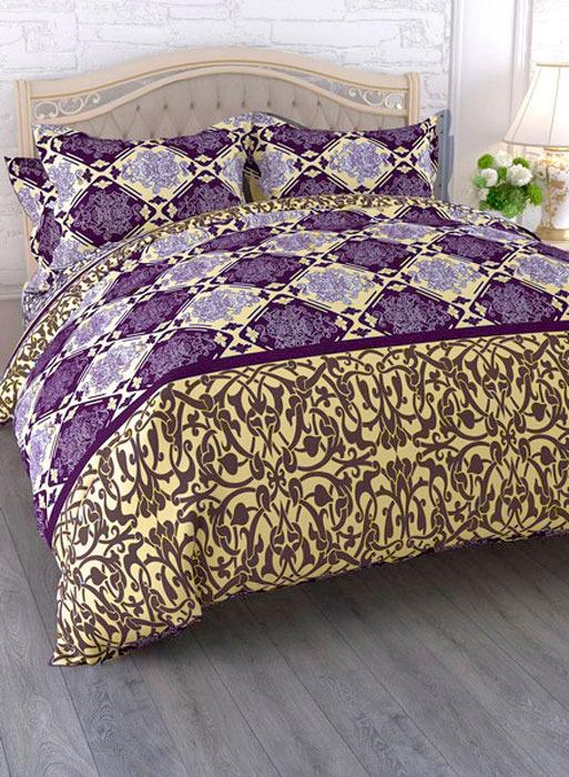 Комплект белья ЭГО Соната, евро, наволочки 70x70, цвет: фиолетовый скатерть quelle эго 1024295 120х150