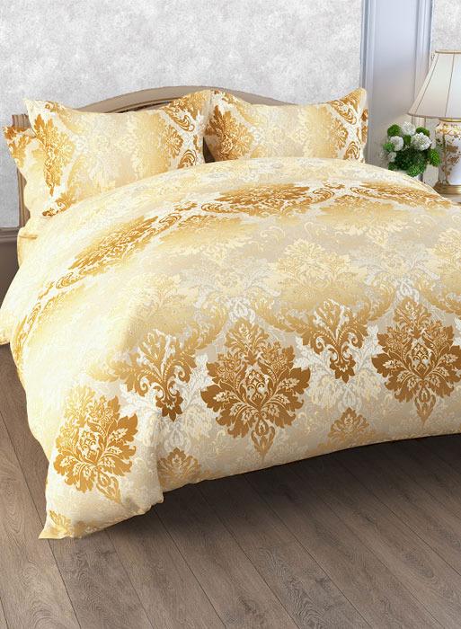 Комплект белья ЭГО Кантата, семейный, наволочки 70x70, цвет: желтый скатерть quelle эго 1024295 120х150