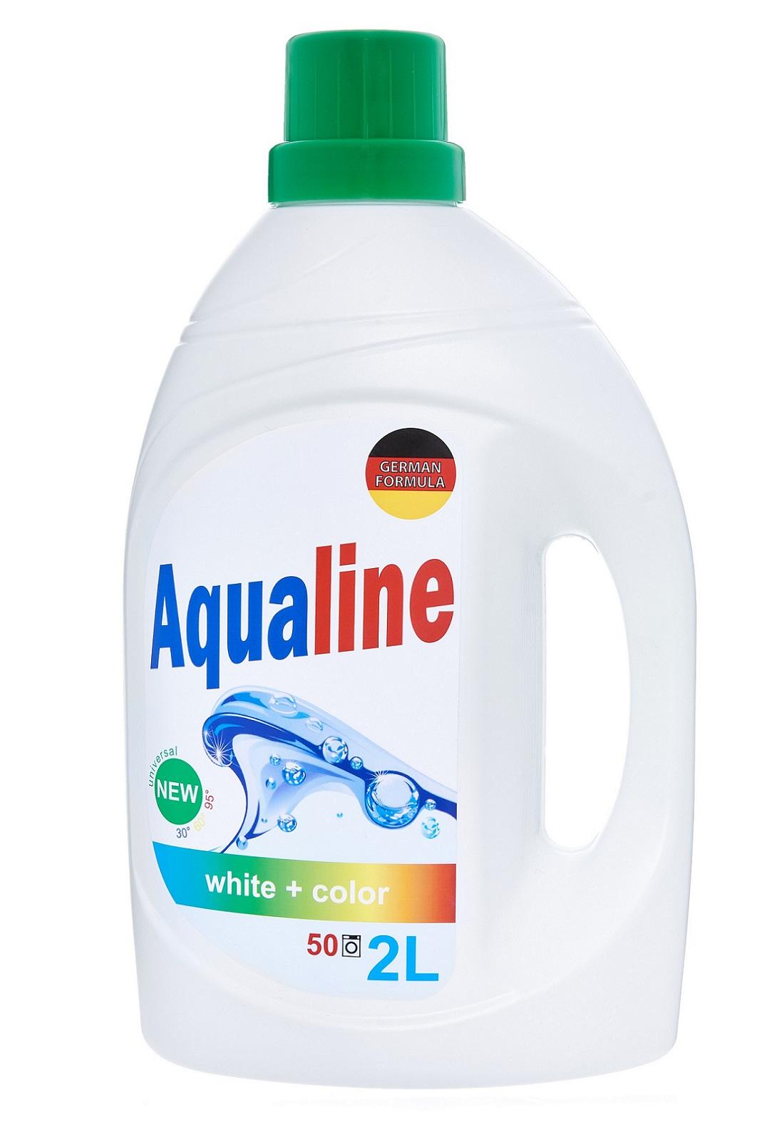 """Жидкое средство для стирки Aqualine / Аквалайн Гель для стирки белья """"Аквалайн"""", универсальный, 2л, шт, зеленый"""