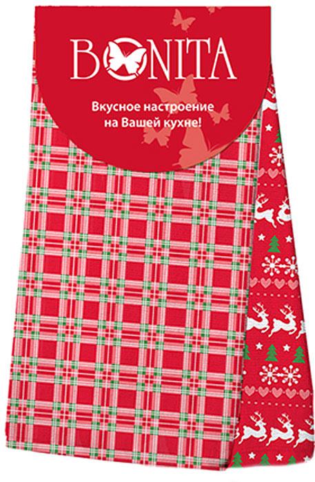 Набор кухонных полотенец Bonita Новогоднее чудо, цвет: белый, красный, зеленый, 35 х 63 см, 2 шт набор полотенец кухонных bonita bonita mp002xu0dyy3