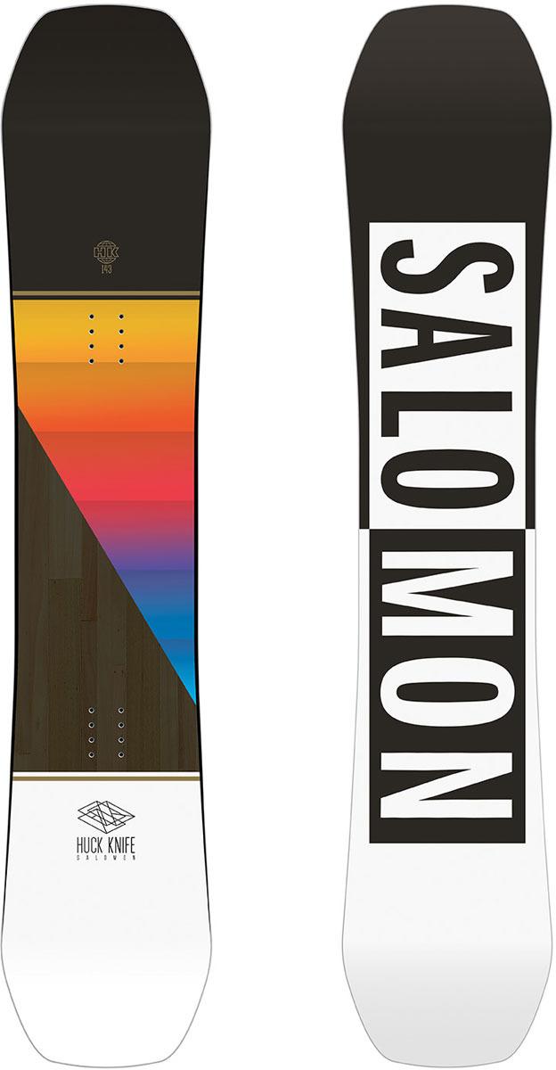 Сноуборд Salomon Huck Knife Grom, цвет: черный, рост 135 смL40529800_135Настоящая парковая доска твинтип с камбером Quad, сочитающая в себе стабильность и контроль канта, а конструкция Popster и деревянный сердечник Aspen дают лучший щелчок при прыжке.