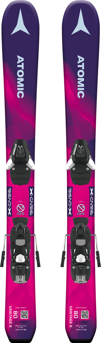 Лыжи горные Atomic Vantage Girl X 70-90 + C 5, с креплением, цвет: фиолетовый, рост 90 см atomic vantage x 83 cti