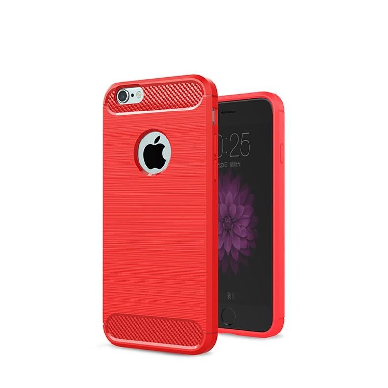 Чехол Eva для Apple IPhone 6/6s, силиконовый, цвет: красный, карбон