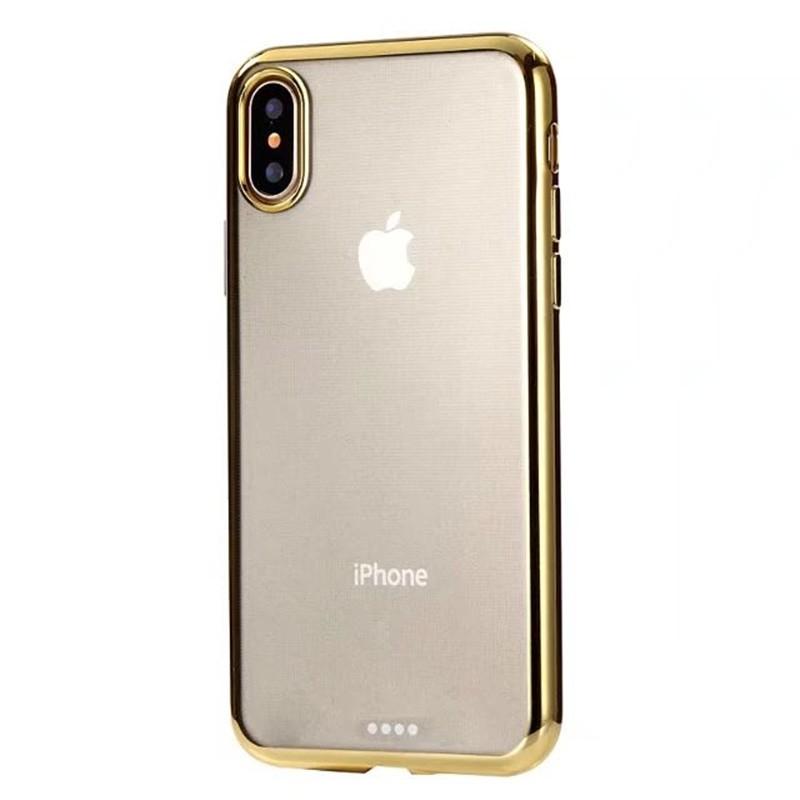 Чехол силиконовый EVA для Apple iPhone X - Прозрачный/Золотой чехол для кия мягкий fairmnded sc608а