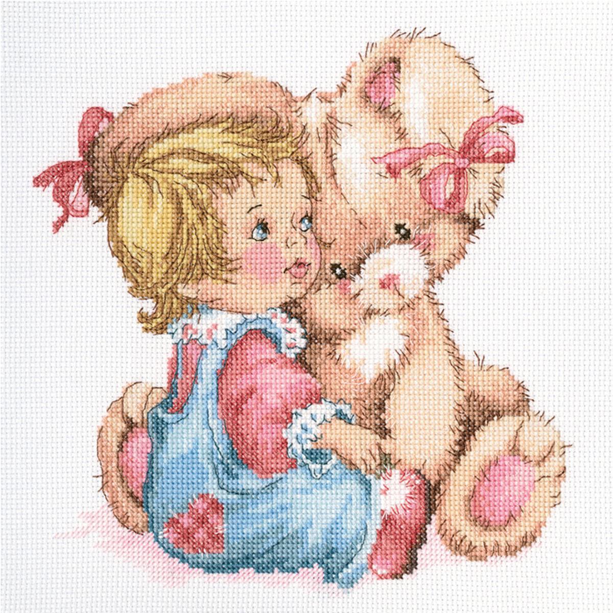 Набор для вышивания крестом RTO Ласковый зайка, 20 х 21 см набор для вышивания крестом rto котенок с подарком 10 х 10 см