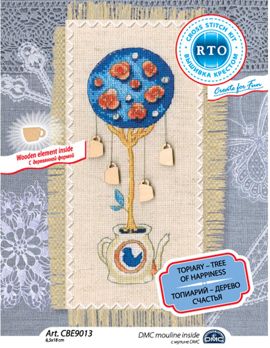Набор для вышивания крестом RTO Топиарий -дерево счастья, 18 х 6,5 см. CBE9013 сокур виктория топиарии своими руками
