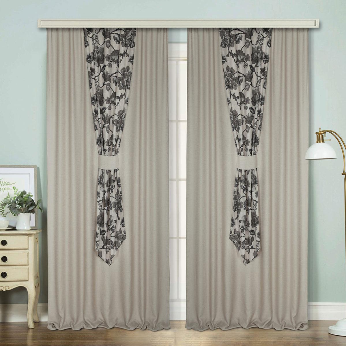 Комплект штор ТД Текстиль Престиж, на ленте, цвет: коричневый, 200 х 280 см, 2 шт чехол на изголовье кровати из стиранного льна mereson