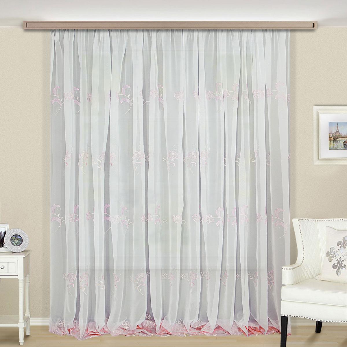 Тюль ТД Текстиль Элегия, на ленте, цвет: белый, розовый, 500 х 270 см цена