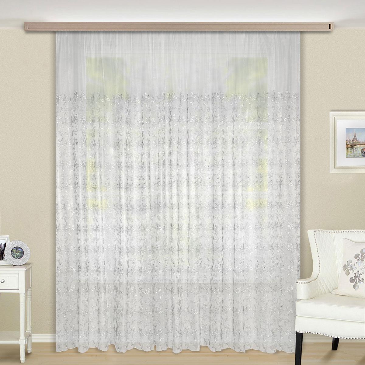 Тюль ТД Текстиль Венсен, на ленте, цвет: серебристый, 270 х 400 см цена