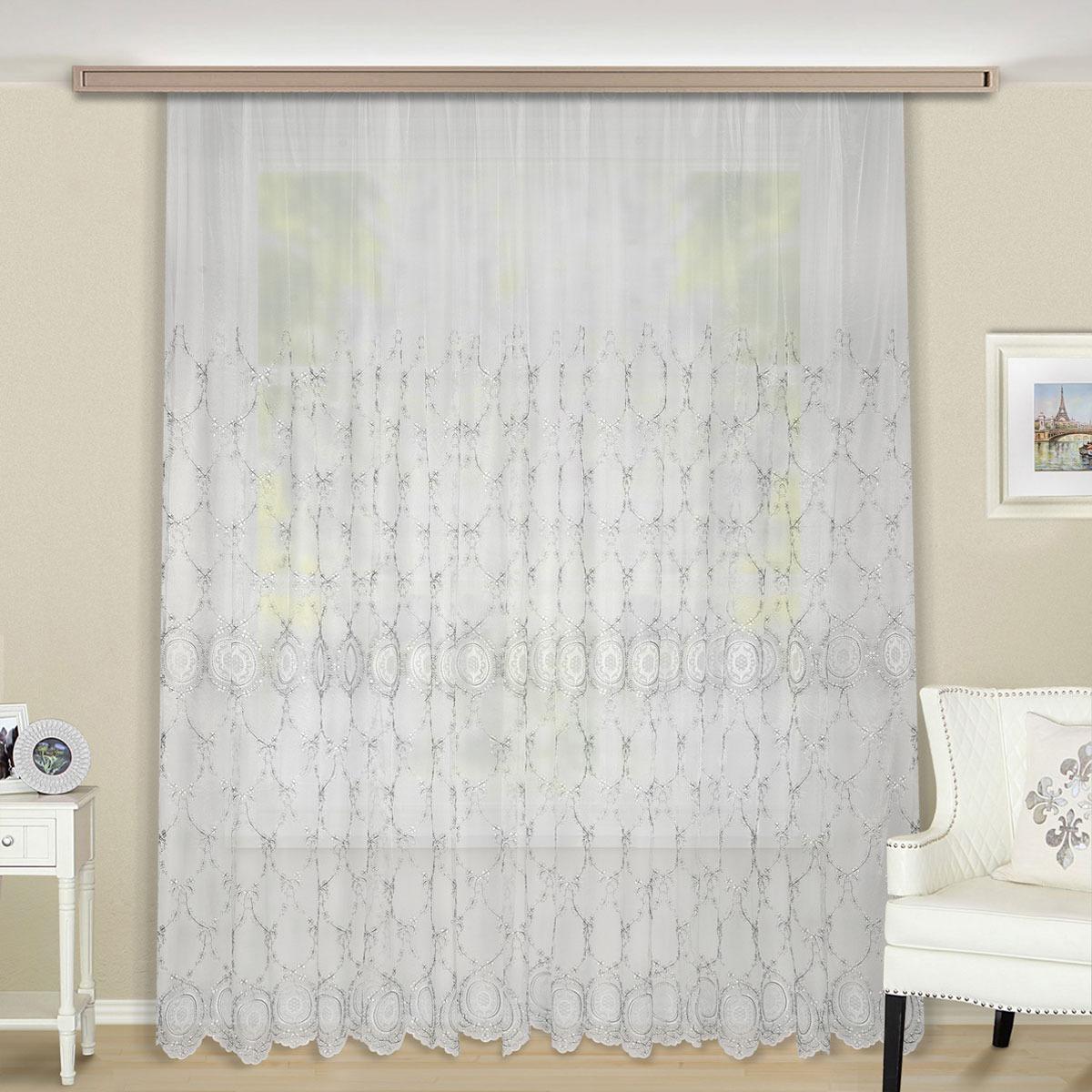 Тюль ТД Текстиль Довиль, на ленте, цвет: серебристый, 270 х 400 см цена