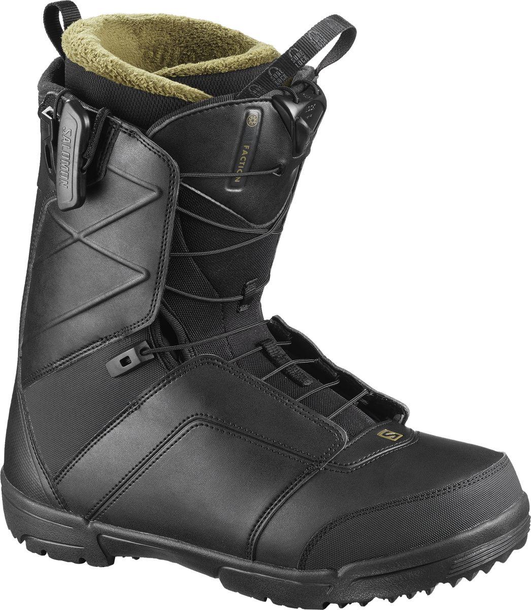 Ботинки для сноуборда мужские Salomon Faction, цвет: черный. Размер 43L40215000_43Никакая другая обувь для сноуборда в этой ценовой категории не имеет такой долгой истории, как ботинки Faction. Технология создания обуви имеет огромное значение для Salomon, поэтому мы разработали обувь, вкоторой идеально сочетаются посадка, отзывчивость и прочность. Мягкий ботинок в паре со шнуровкой ZoneLock гарантирует комфорт и поддержку весь день.