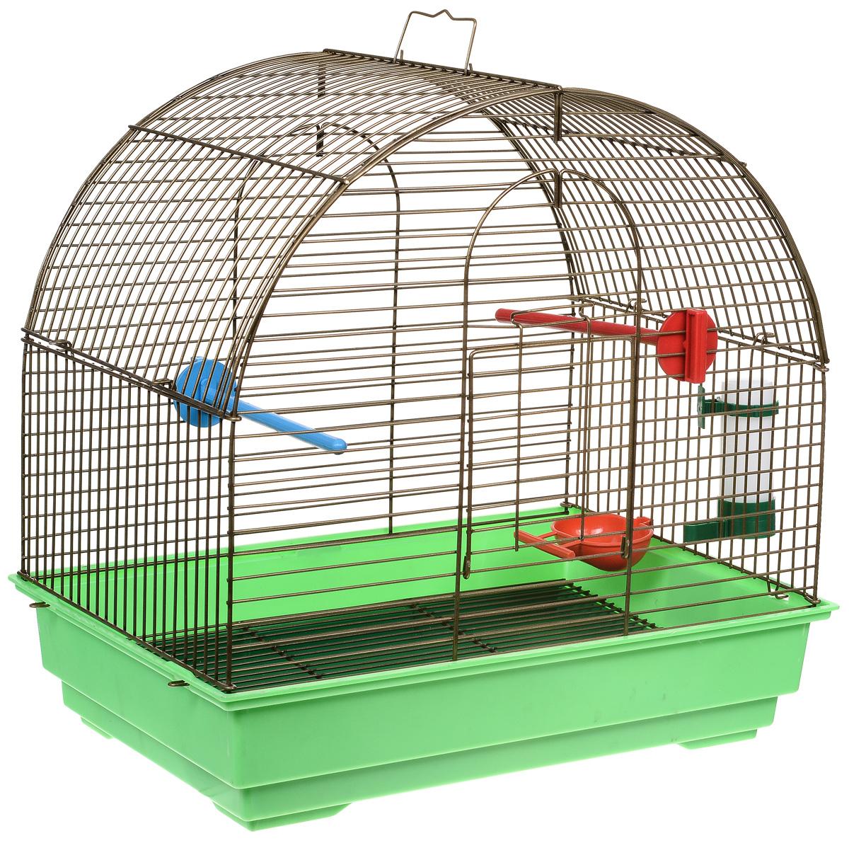 Клетка для птиц Велес Lusy Mini, разборная, цвет: золотистый, салатовый, 30 х 42 х 40 см клетка для грызунов велес с полками цвет серый 40 х 58 х 45 см