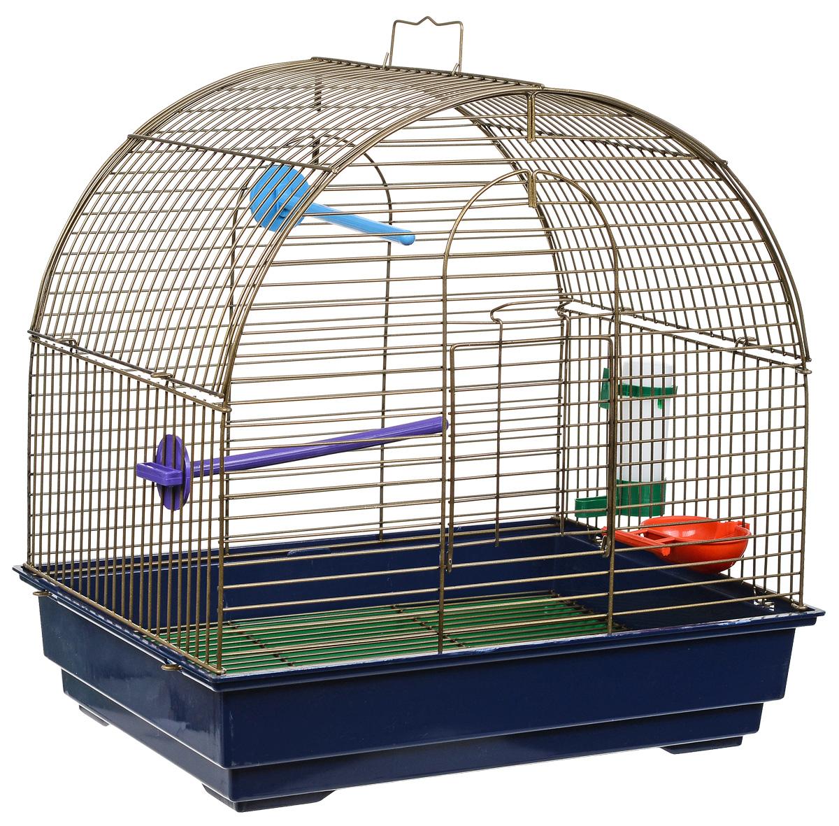 Клетка для птиц Велес Lusy Mini, разборная, цвет: золотистый, синий, 30 х 42 х 40 см клетка для грызунов велес с полками цвет серый 40 х 58 х 45 см