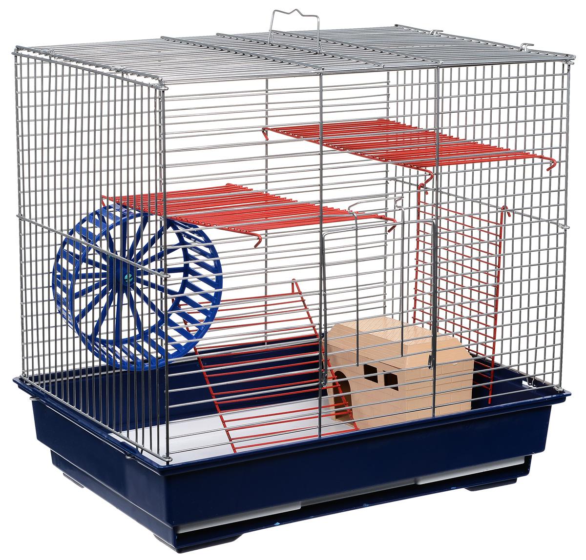 Клетка для грызунов Велес Lusy 3, 3-этажная, разборная, цвет: синий, 42 х 42 х 30 см клетка для грызунов велес lusy 2 2 этажная цвет красный 30 х 42 х 25 см