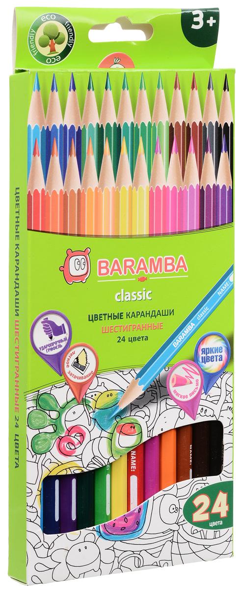 Baramba Набор цветных карандашей Classic 24 цвета карандаши цветные baramba шестигранные 12 цветов
