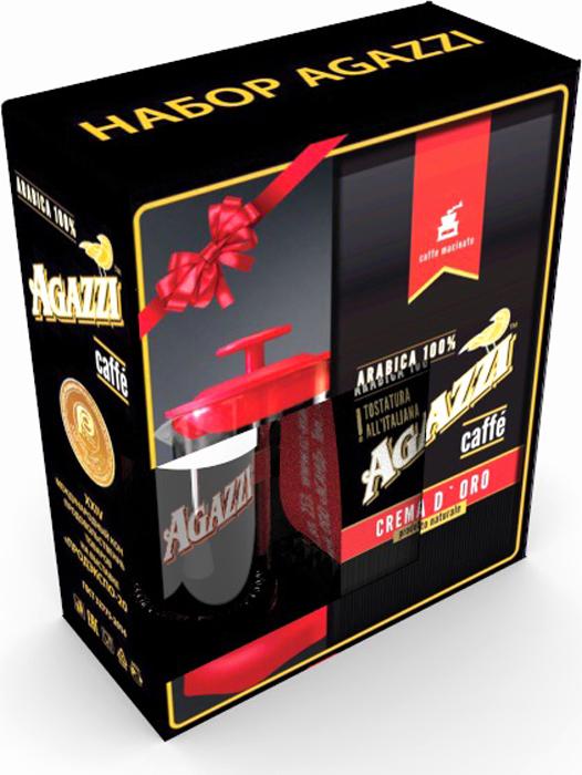 Кофе молотый Agazzi Crema D`oro, 200 г + Френч-пресс Agazzi Black4631136817741Подарочный кофейный набор «Agazzi» Mini Black. - это вкуснейший, идеальный способ удивить и порадовать родных, друзей и коллег на любой праздник!